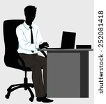silhouette man at the desk with ... | Shutterstock .eps vector #252081418