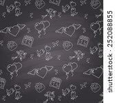 chalkboard style valentines day ... | Shutterstock .eps vector #252088855
