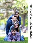 happy friends in park | Shutterstock . vector #252090286