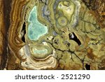 Various copper ores mixed in a common matrix - stock photo
