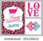 happy valentines day cards with ... | Shutterstock .eps vector #252130612