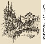 hand drawn landscape with lake... | Shutterstock .eps vector #252136696