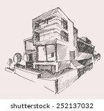 architect draft of modern new... | Shutterstock .eps vector #252137032