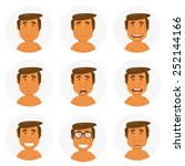 set round avatars with fun guy. ... | Shutterstock .eps vector #252144166