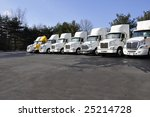row of large tractor trailers...   Shutterstock . vector #25214728