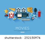 movie and film concept. flat... | Shutterstock .eps vector #252150976