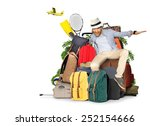 travel and tourism  the guy on... | Shutterstock . vector #252154666
