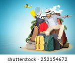 travel and tourism  the guy on... | Shutterstock . vector #252154672