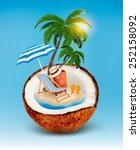 vacation concept. palm tree ... | Shutterstock .eps vector #252158092
