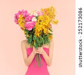 girl with bouquet of flowers in ... | Shutterstock . vector #252173086
