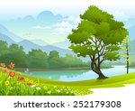 lake surrounded by lush greenery | Shutterstock .eps vector #252179308