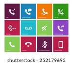 call and handset icons on color ...