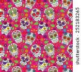 day of the dead sugar skull...   Shutterstock .eps vector #252183265