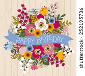 happy birthday colorful bunch | Shutterstock .eps vector #252195736