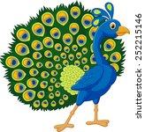 cartoon green peacock | Shutterstock .eps vector #252215146