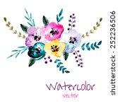 watercolor floral composition....   Shutterstock .eps vector #252236506