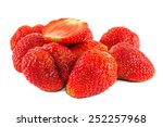 ripe red strawberries on white... | Shutterstock . vector #252257968