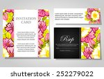 set of invitations with floral... | Shutterstock .eps vector #252279022