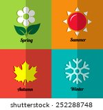 four seasons icon set | Shutterstock .eps vector #252288748