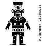 tiki statue black silhouette | Shutterstock . vector #252300196