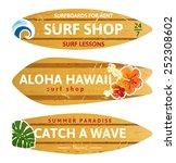 3 wooden surfboards with prints ... | Shutterstock .eps vector #252308602