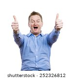 happy young man in blue shirt... | Shutterstock . vector #252326812
