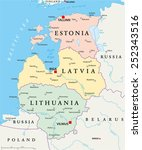 baltic states political map.... | Shutterstock .eps vector #252343516