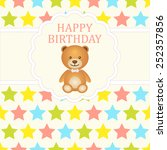 baby boy arrival card. baby... | Shutterstock .eps vector #252357856