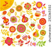 set of colorful cute flowers.... | Shutterstock .eps vector #252365332