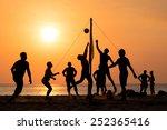 silhouette of beach volleyball...   Shutterstock . vector #252365416