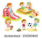 kids playing at playground | Shutterstock .eps vector #252365845
