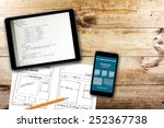 website wireframe sketch and... | Shutterstock . vector #252367738