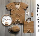 brown promotional souvenirs... | Shutterstock .eps vector #252379048