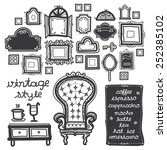 vintage chair with picture... | Shutterstock .eps vector #252385102