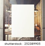 3d rendering of poster on window | Shutterstock . vector #252389905