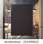 3d rendering of poster on window | Shutterstock . vector #252390022