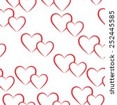 seamless pattern of red hearts. ... | Shutterstock .eps vector #252445585