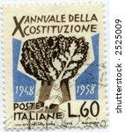 vintage world postage stamp ephemera italy - stock photo
