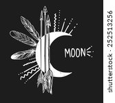 moon  arrows and feathers on... | Shutterstock .eps vector #252513256