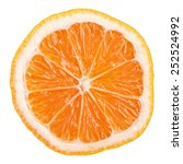 Small photo of Slice of Rangpur (lemandarin) - citrus fruit, hybrid between mandarin orange and lemon isolated on white