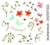 foliate elements. watercolor... | Shutterstock .eps vector #252537322