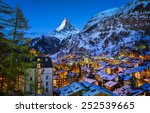 Aerial View On Zermatt Valley...