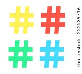 set of colored hashtag sticker. ... | Shutterstock .eps vector #252539716