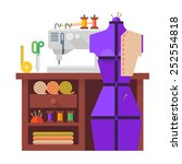 table and sewing mannequin ...   Shutterstock .eps vector #252554818
