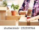 packing boxes close up | Shutterstock . vector #252559966