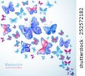 blue watercolor butterflies.... | Shutterstock .eps vector #252572182