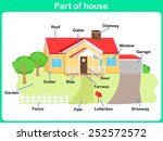 leaning parts of house for kids ... | Shutterstock .eps vector #252572572