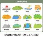 leaning landforms for kids   ... | Shutterstock .eps vector #252573682