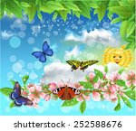 butterflies in the spring... | Shutterstock .eps vector #252588676