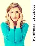 sad and depressed woman deep in ... | Shutterstock . vector #252627928